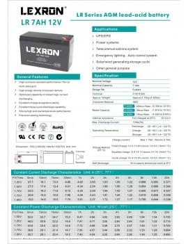 7AH-12V LEXRON DRY TYPE BATTERY